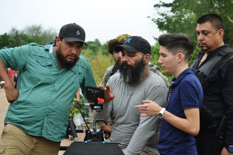 L to R - Mauricio Alarcon (1st AC), Edgar Luzanilla (DP) and Andre Fernandez (producer) - Until They Bury Us All